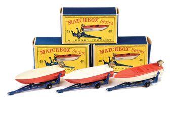 Matchbox Regular Wheels 3 x 48b Sports Boat & Trailer