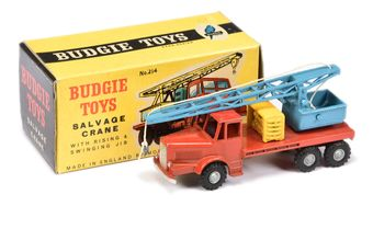 Budgie Toys 214 Salvage Crane - red cab and back