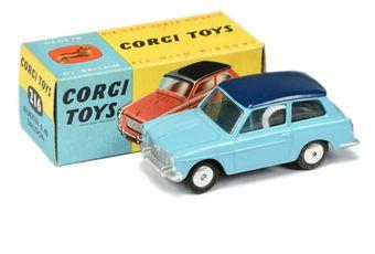 Corgi 216 Austin A40 Saloon - blue body, dark blue roof