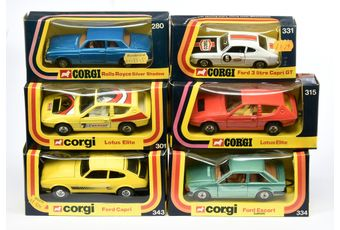 Corgi a boxed group to include 331 Ford 3 litre Capri GT