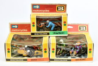 Britains Motorcycles a boxed group (1) 9640 Go Karts