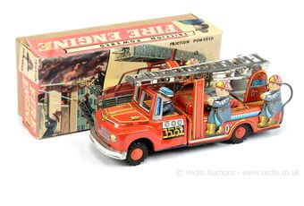 """""""Friction Powered Fire Engine"""" - tinplate model is red"""