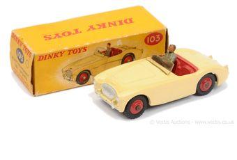 Dinky 103 Austin Healey 100 Sports Car - cream body