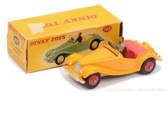 Dinky 102 MG Midget Sports Car - yellow body, red interior