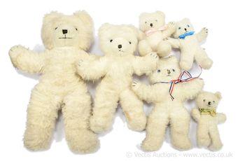 Wendy Boston six white plush vintage teddy bears