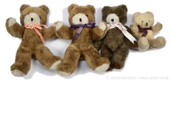 Wendy Boston four light brown / brown / white plush vintage teddy