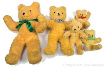 Wendy Boston five x vintage golden plush teddy bears