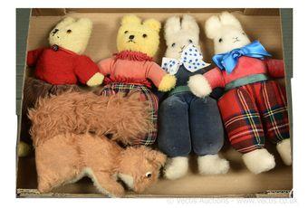 Wendy Boston five x vintage plush toys: pair of golden plush