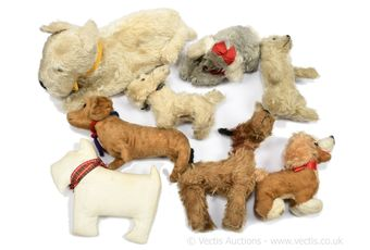 Eight mohair vintage dogs, manufacturers include Chiltern