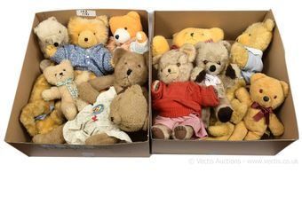 Collection of fourteen plush bears, mainly vintage