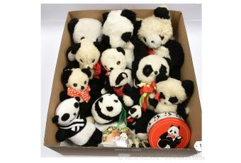 Collection of plush vintage panda bears, etc