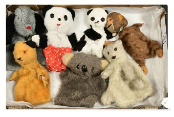 Seven vintage glove puppets,