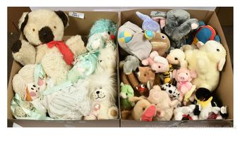 Collection of vintage plush toys and teddy bears