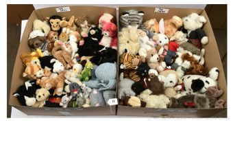 Collection of plush animals- dogs, cats, monkeys, rabbits
