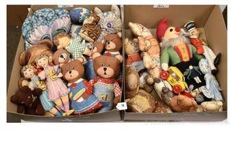 Cloth printed teddy bears, dolls and animals