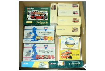 Corgi a boxed Bus group to include 97074 Routemasters in Exile