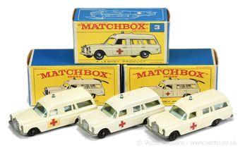 Matchbox Regular Wheels 3 x 3c Mercedes Benz Binz Ambulance -