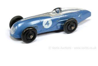 Dinky 23a Racing Car - blue, silver, racing number 4