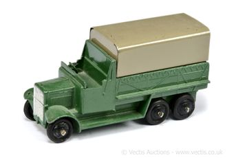 Dinky 25s 6-wheeled Wagon - green, fawn tinplate canopy