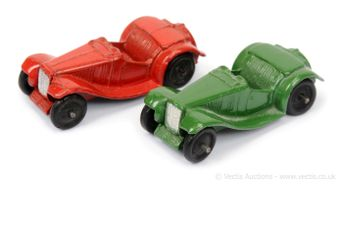 Dinky 35c MG Sports Car pair (1) red (overpainted) and