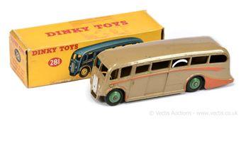 Dinky 281 Luxury Coach - fawn body, orange side flashes