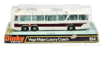 Dinky 954 Vega Major Luxury Coach - white, black base