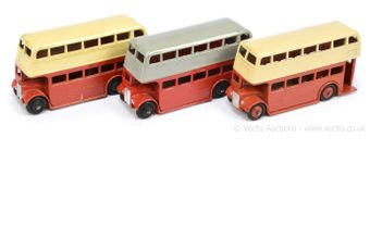 Dinky 29c/290 Double Decker Bus group of 3 (1) Type 1