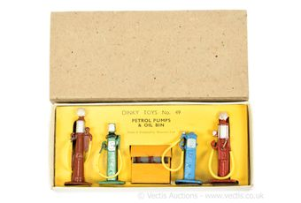 Dinky Pre-war 49 Petrol Pumps and Oil Bin containing 5 pieces