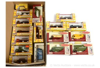 A boxed group of models