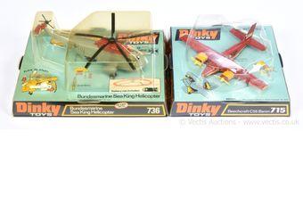Dinky 715 Beechcraft C55 Baron - red body, ivory interior