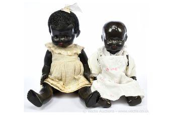 Black vintage dolls, pair: