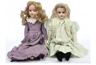 German bisque dolls pair: