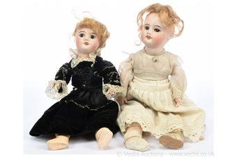 SFBJ French bisque vintage dolls pair, 1920s