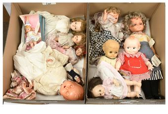 Collection of celluloid, hard plastic and vinyl dolls