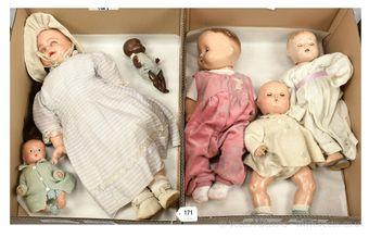 Composition vintage dolls x six
