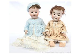 German bisque dolls pair: (1) Alt, Beck