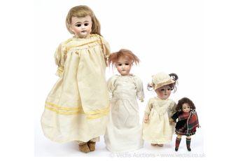 German bisque antique / vintage dolls x four: