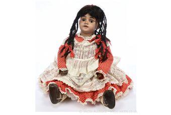 Simon & Halbig brown bisque doll, German, c1891