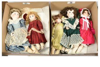 Modern bisque replica dolls x five