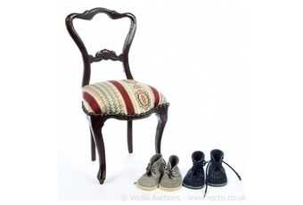 Doll's / teddy bear's wooden upholstered chair