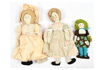 Giuliana Schlatter cloth dolls x three, Italian