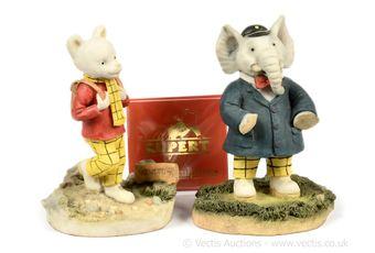 Arden Sculptures Rupert the Bear 75th Anniversary 1995 pair of