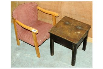Child's upholstered vintage wooden chair and desk; Fair to Good,