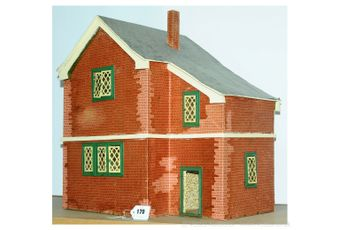 Vintage wooden doll's house, open at rear