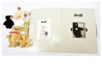 Steiff miniatures x six: (1) Original teddy bear