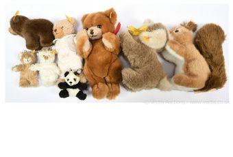 Steiff plush bears and animals x eight: (1) Ricky squirrel