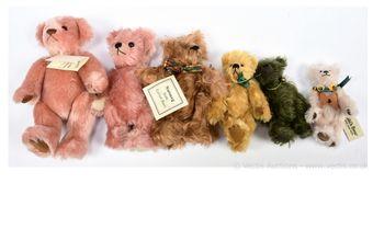 Artist designed teddy bears x six