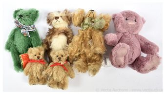 Collection of six miniature teddy bears and animals:
