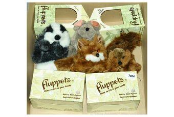 Furrytails Fluppets x four, vintage plush hand puppets