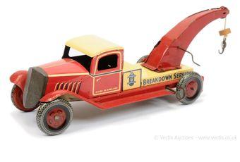 "Wells pre-war tinplate ""Breakdown Service"" Truck"